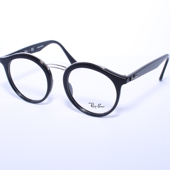 ebcc7af2f7e Ray Ban Round Eyeglasses RB 7110 2000 Glossy Black.  M 5a35a602739d4893cd023762